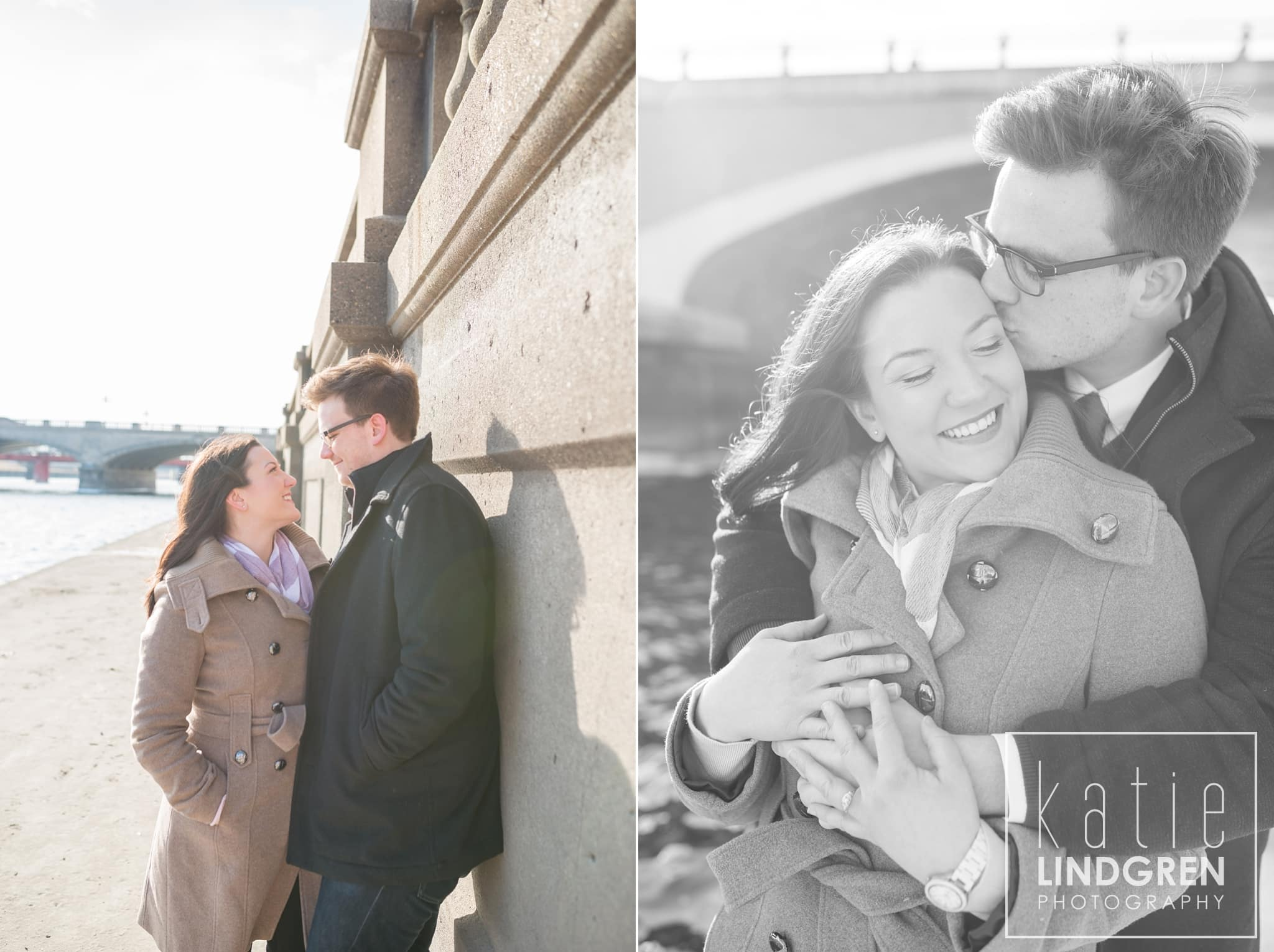 Des Moines Riverwalk Engagement Photos
